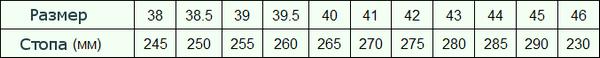 таблица размеров алиэкспресс мужской обуви